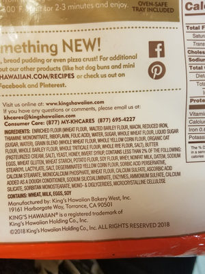 king's Hawaian - Ingredients