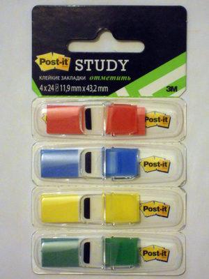 Клейкие закладки Post-it Study 11,9 mm x 43,2 mm [683-4S-RU] - Product