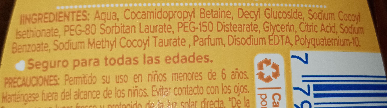 Shampoo Baby - Ingredients - es