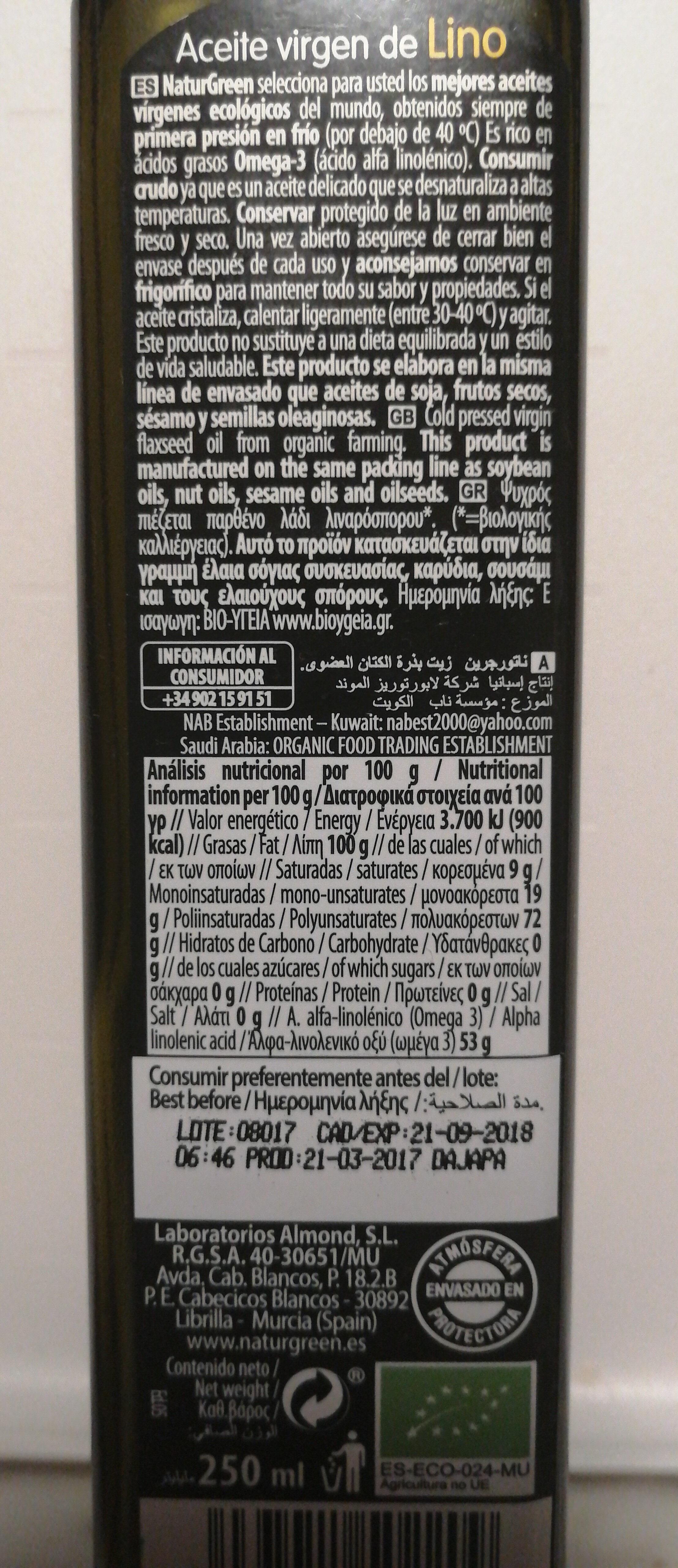 aceite virgen de lino - Product