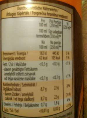Orangensaft Pure Fruits Hofer - Ingredients - de