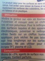Nettoyant vitres - Ingrédients - fr