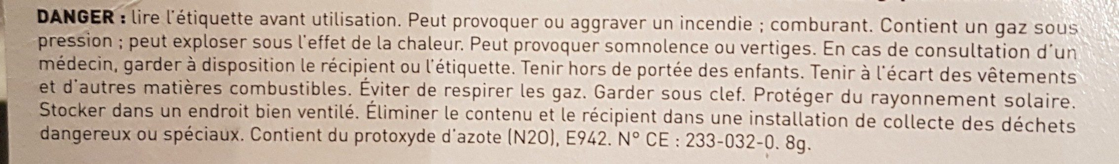 Protoxyde d'Azote - Ingredients - fr