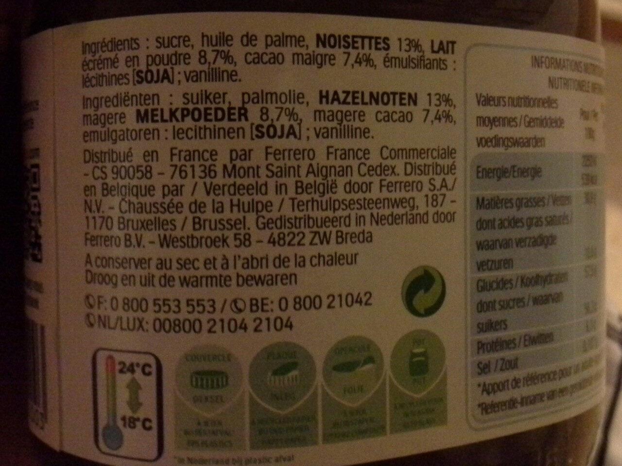 Nutella - Ingredients - da