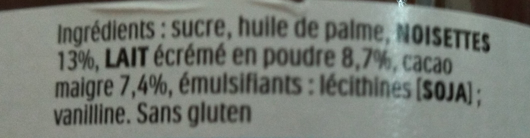 Nutella - Ingredients - fr