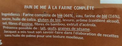 Tartine P'tit dej - Ingredients