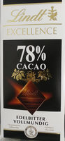 Excellence 78% CACAO Edelbitter Vollmundig - Product