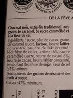 minet chocolat noir caramel pointé de sel - Ingredients