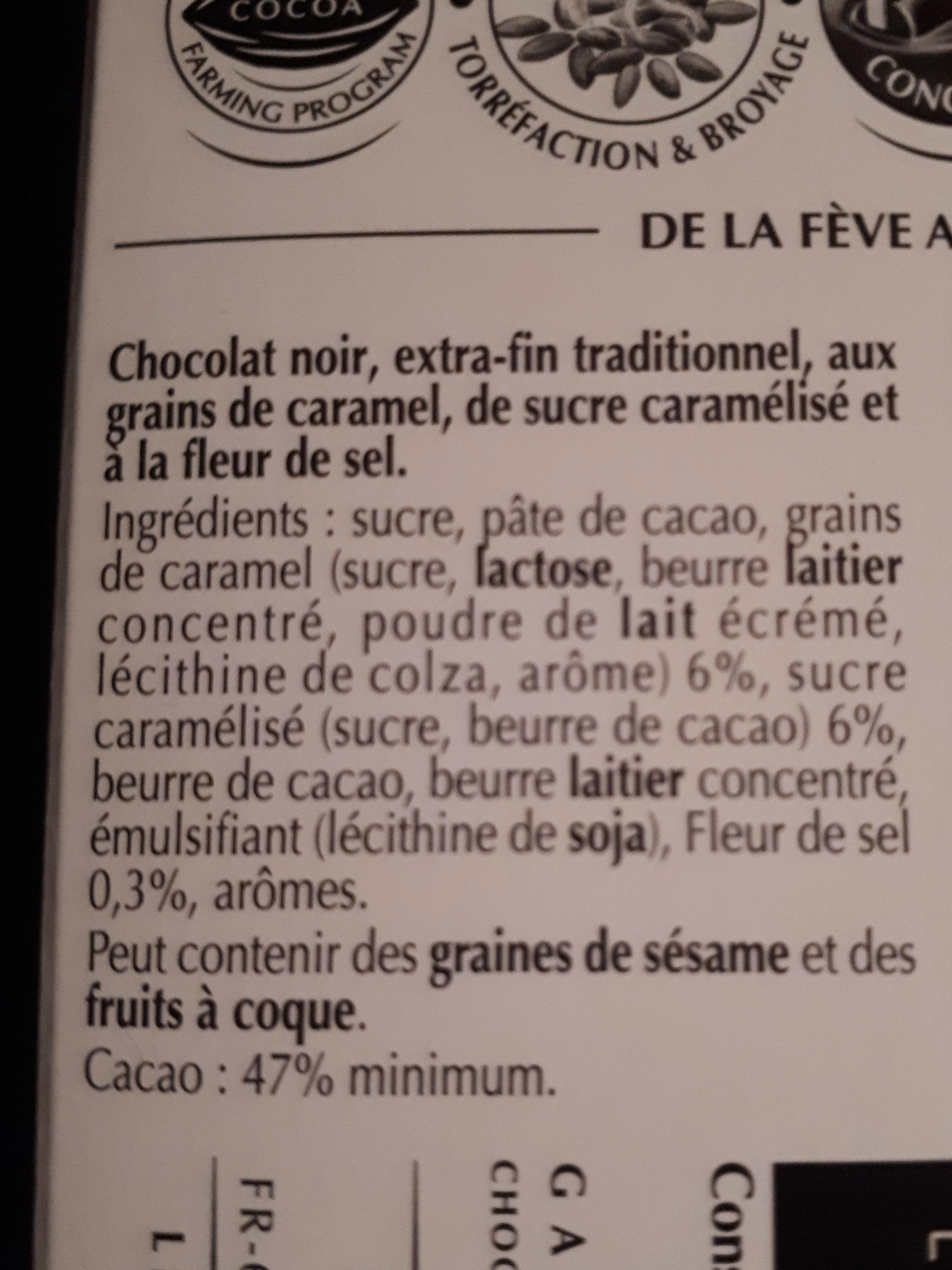 minet chocolat noir caramel pointé de sel - Ingredients - fr