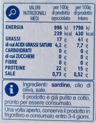 sardine in olio di oliva - Ingredients