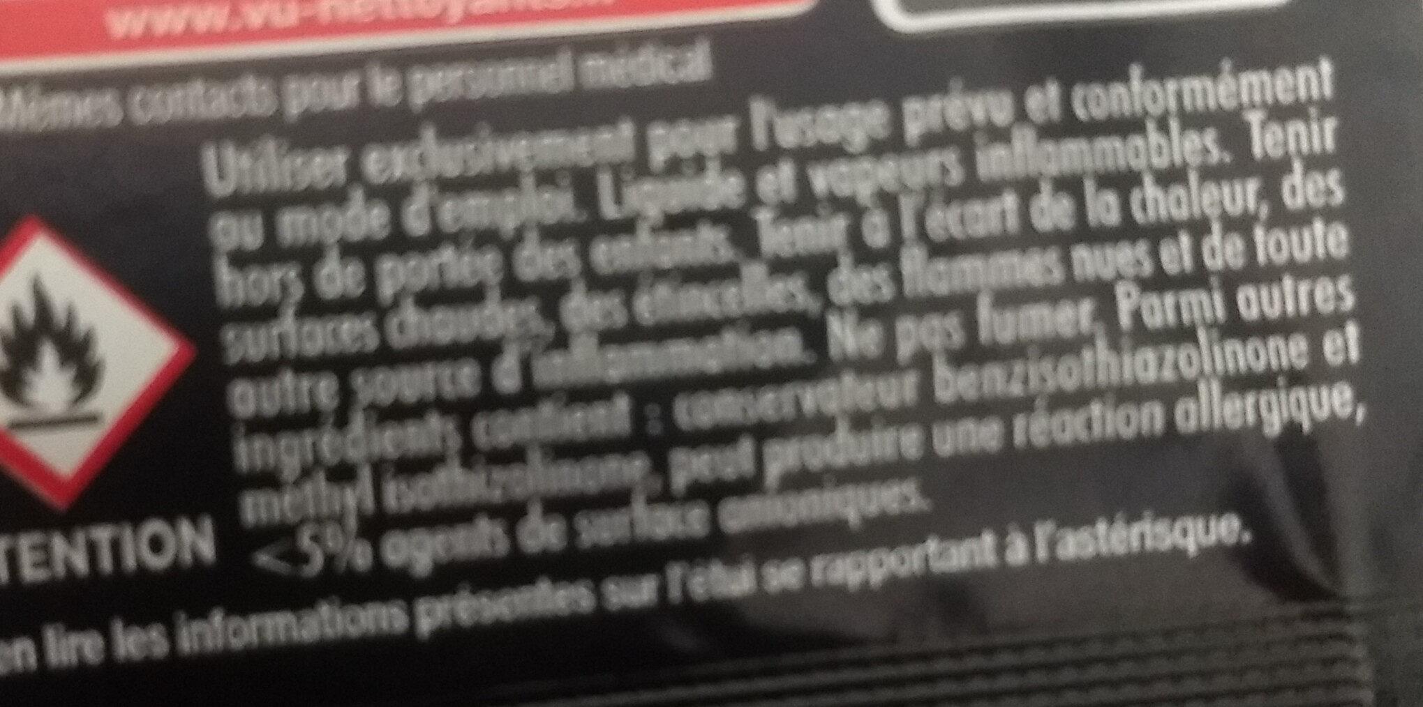 Lingette nettoyant optique - Ingredients - fr