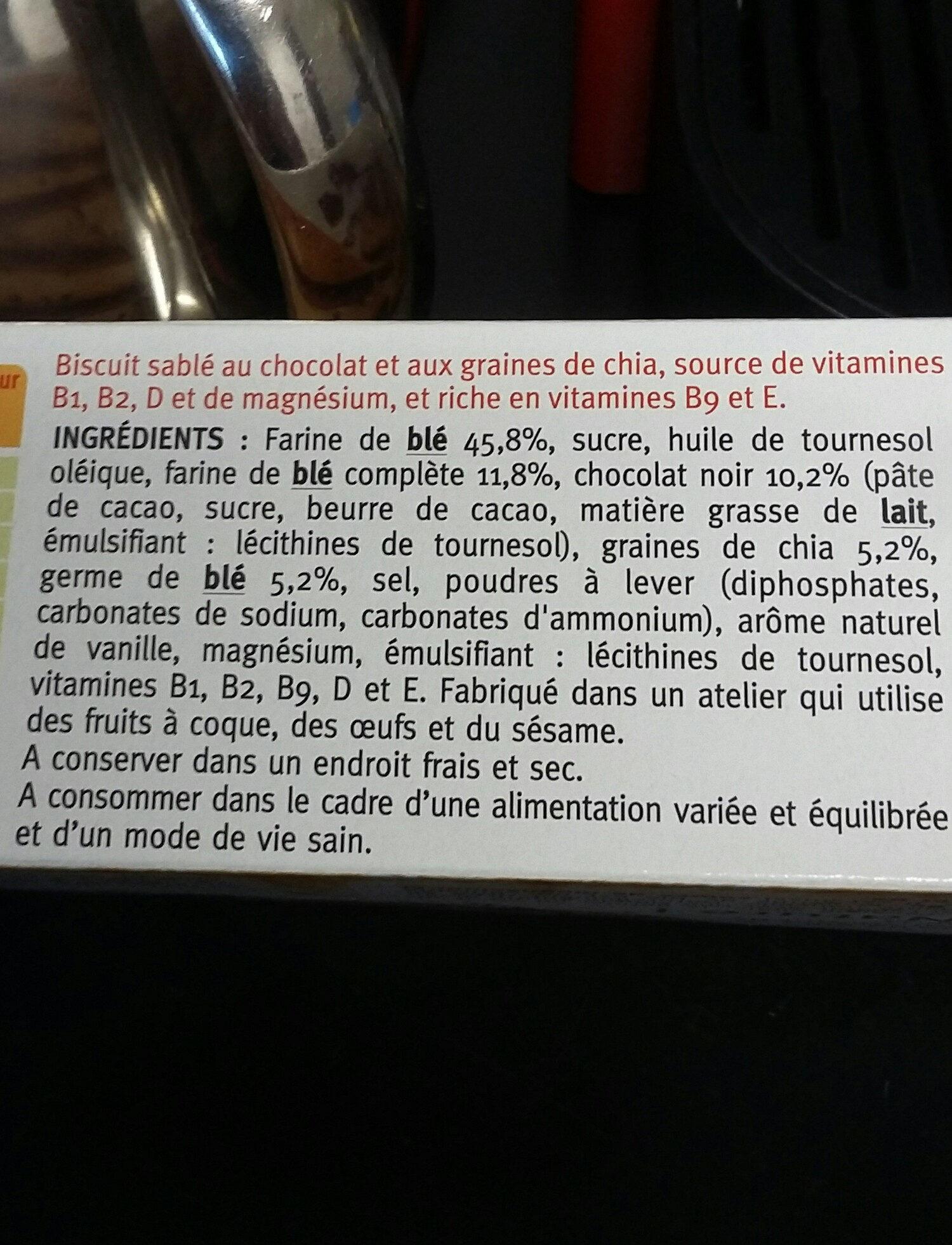 sablés  chocolat  graines  de chia - Ingredients - fr