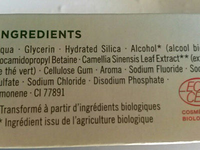 dentifrice bio vadémécum - Ingredients