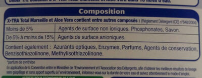 X.TRA TOTAL ALOE VERA ET MARSEILLE - Ingredients