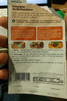 aubergine de Barbentane - Ingredients