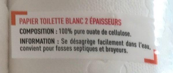Papier toilette Doux double épaisseur - Ingrédients
