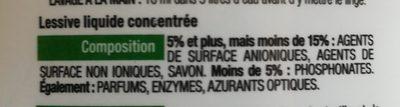 Nature lessive concentrée - Ingredients