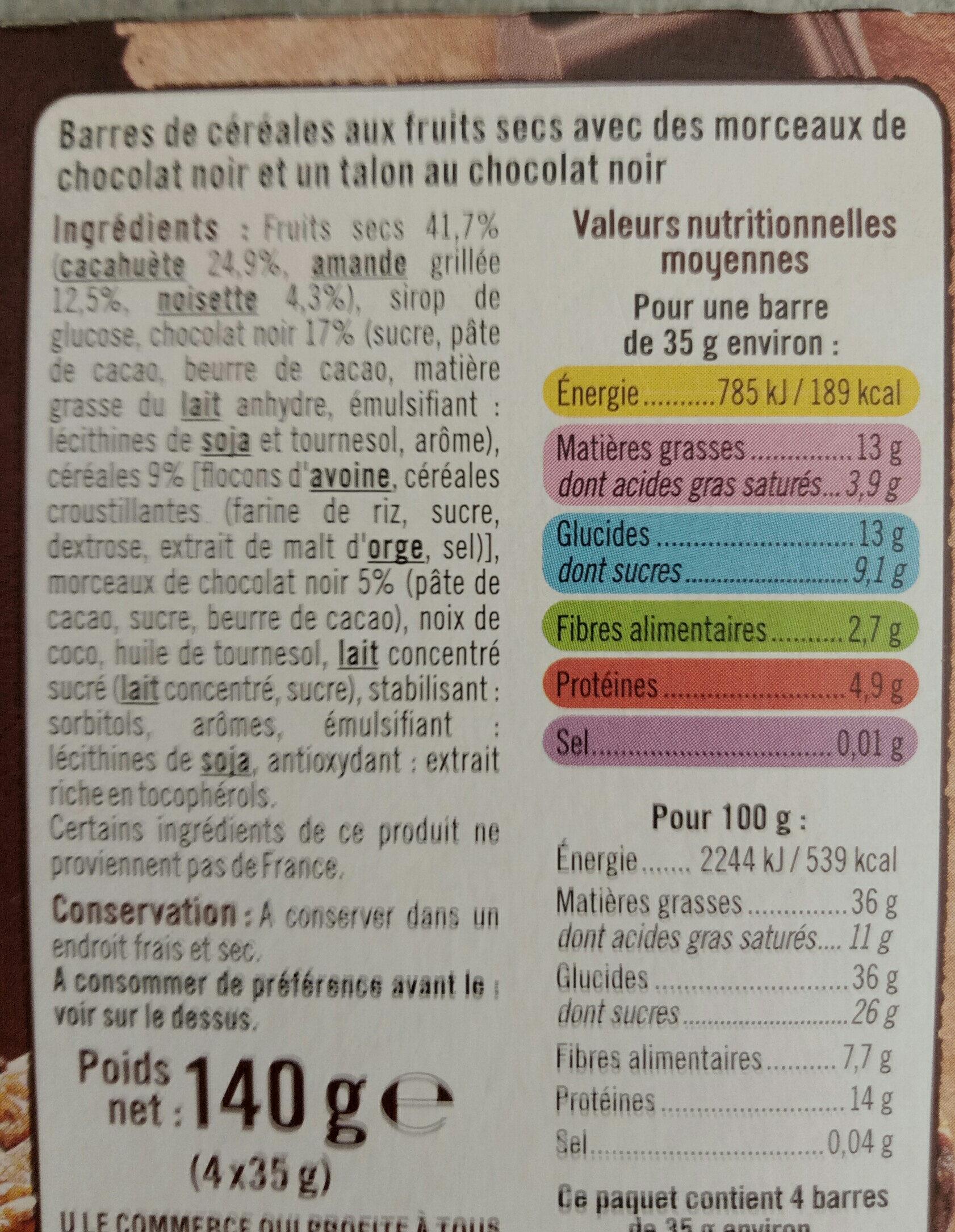 barred de céréales gourmandes cacahuètes chocolat amandes noisettes - Ingredients