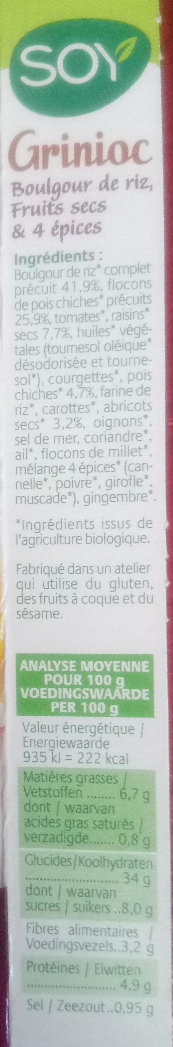 Grignioc - Ingredients - fr