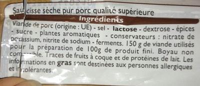 Saucisse sèche qualité supérieure - Ingredients