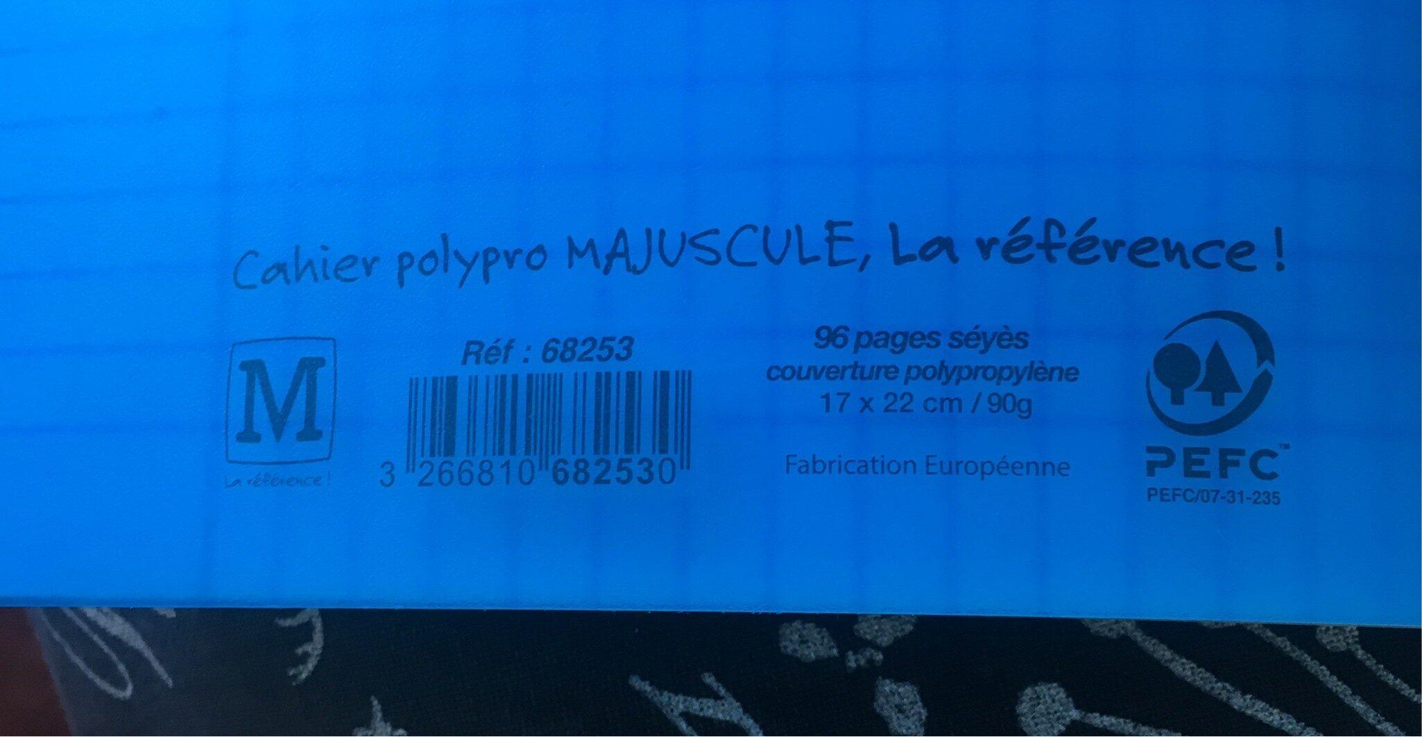 Majuscule Piqûre 96 Pages Couverture Polypropylène 17 x 22 - Ingredients - fr