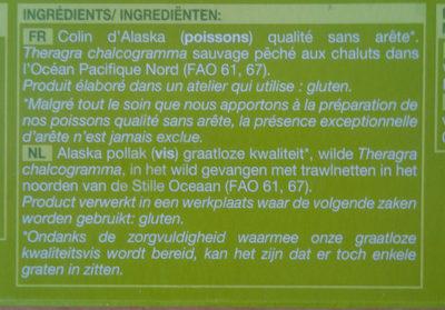 4 tranches de filets de Colin d'Alaska - Ingredients