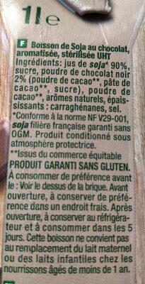 Sojasun chocolat - Ingredients - fr