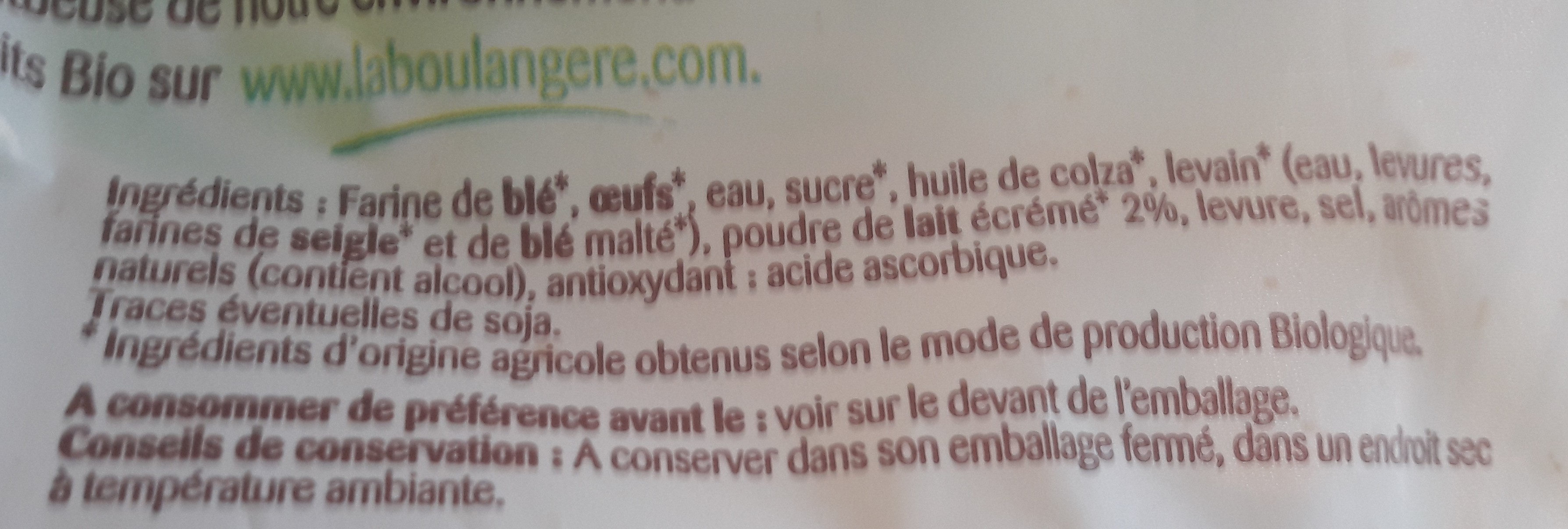 pain au lait Bio - Ingredients - fr