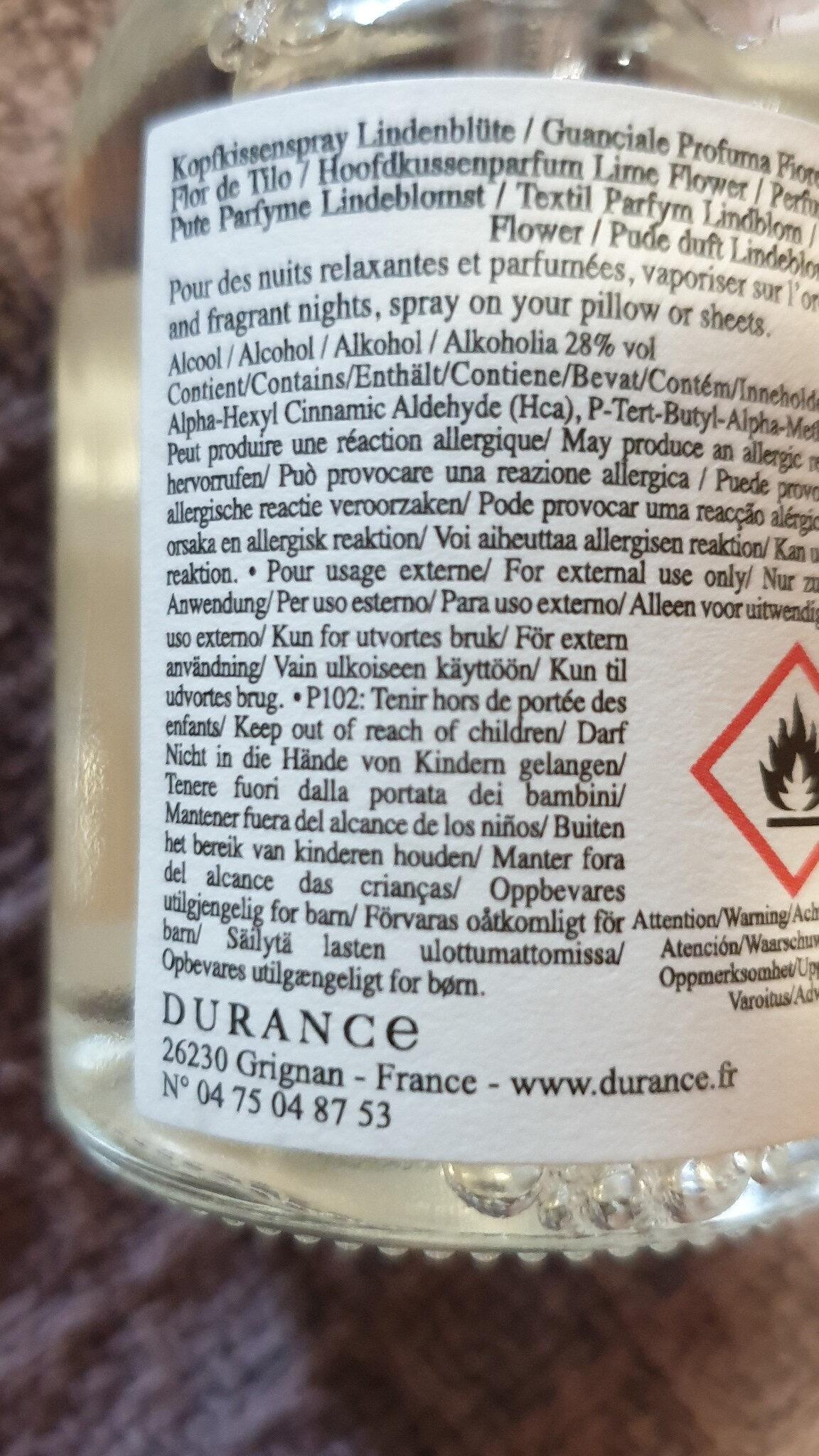 DURANCE BRUME D'OREILLER - Ingredients