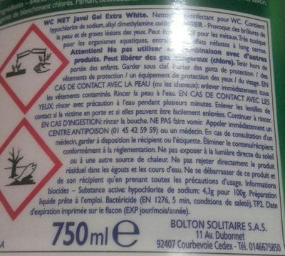 Javel gel extra white - Ingredients
