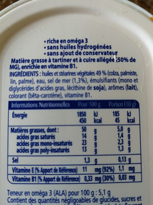 St Hubert Oméga 3 demi sel - Ingredients