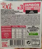 Sandwich jambon cheddar XXL - Ingredients - fr