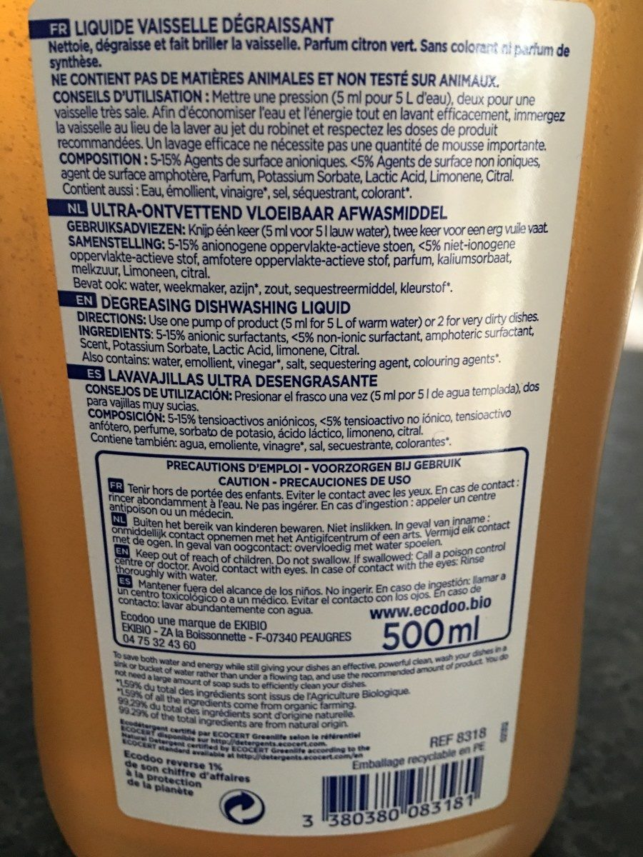 Liquidevaisselle - Ingredients - fr