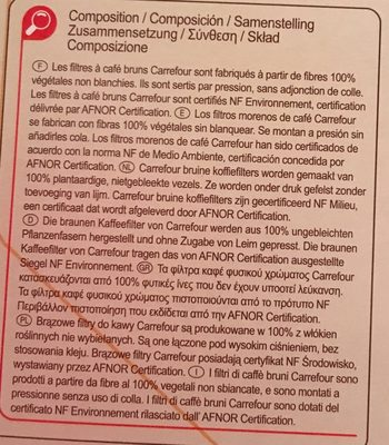 80 Filtres à Café Bruns N° 4 - Ingredients - fr