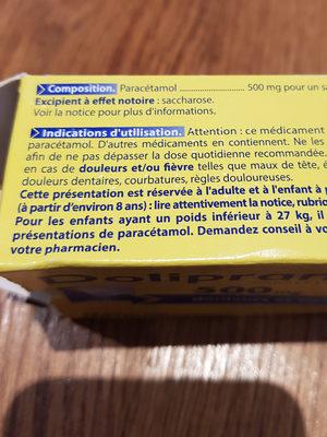 Doliprane 500 mg sachets-dose - Ingredients - fr
