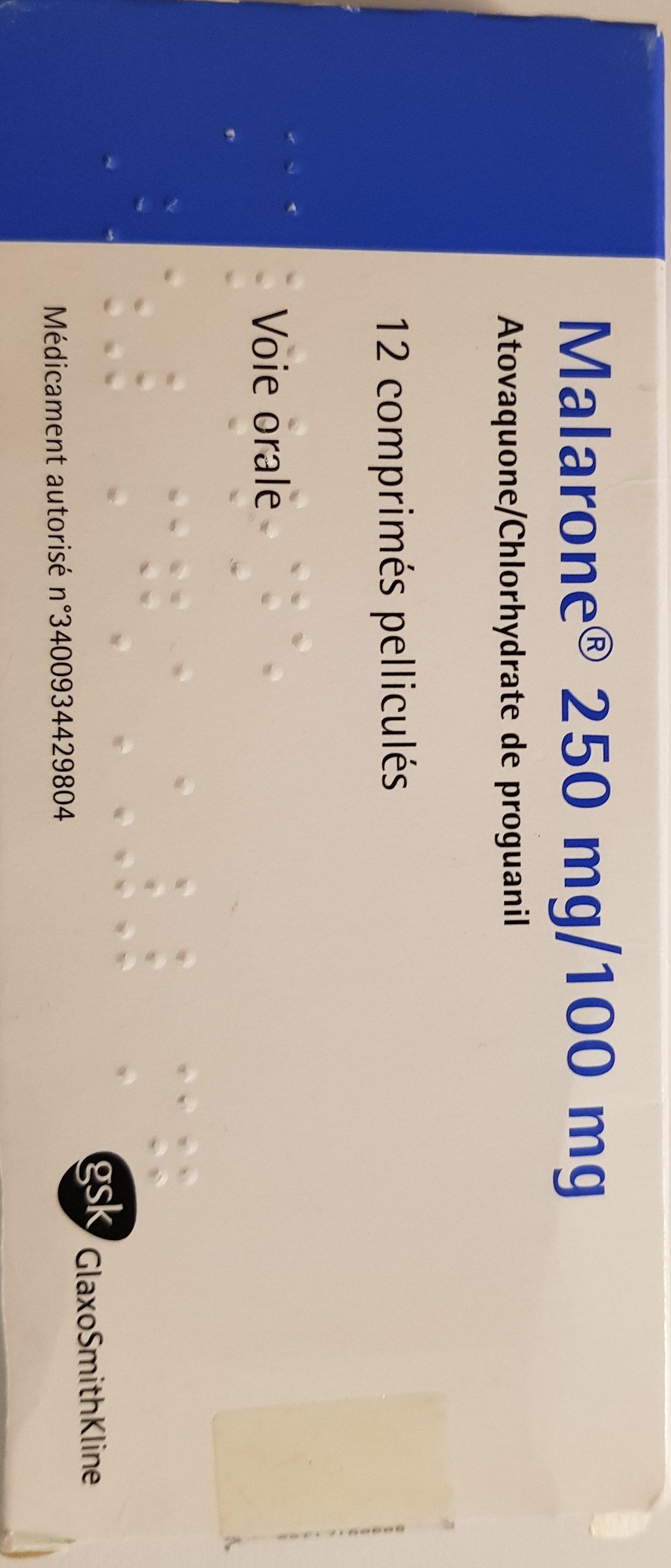 Malarone 250 mg/100mg - Produit - fr