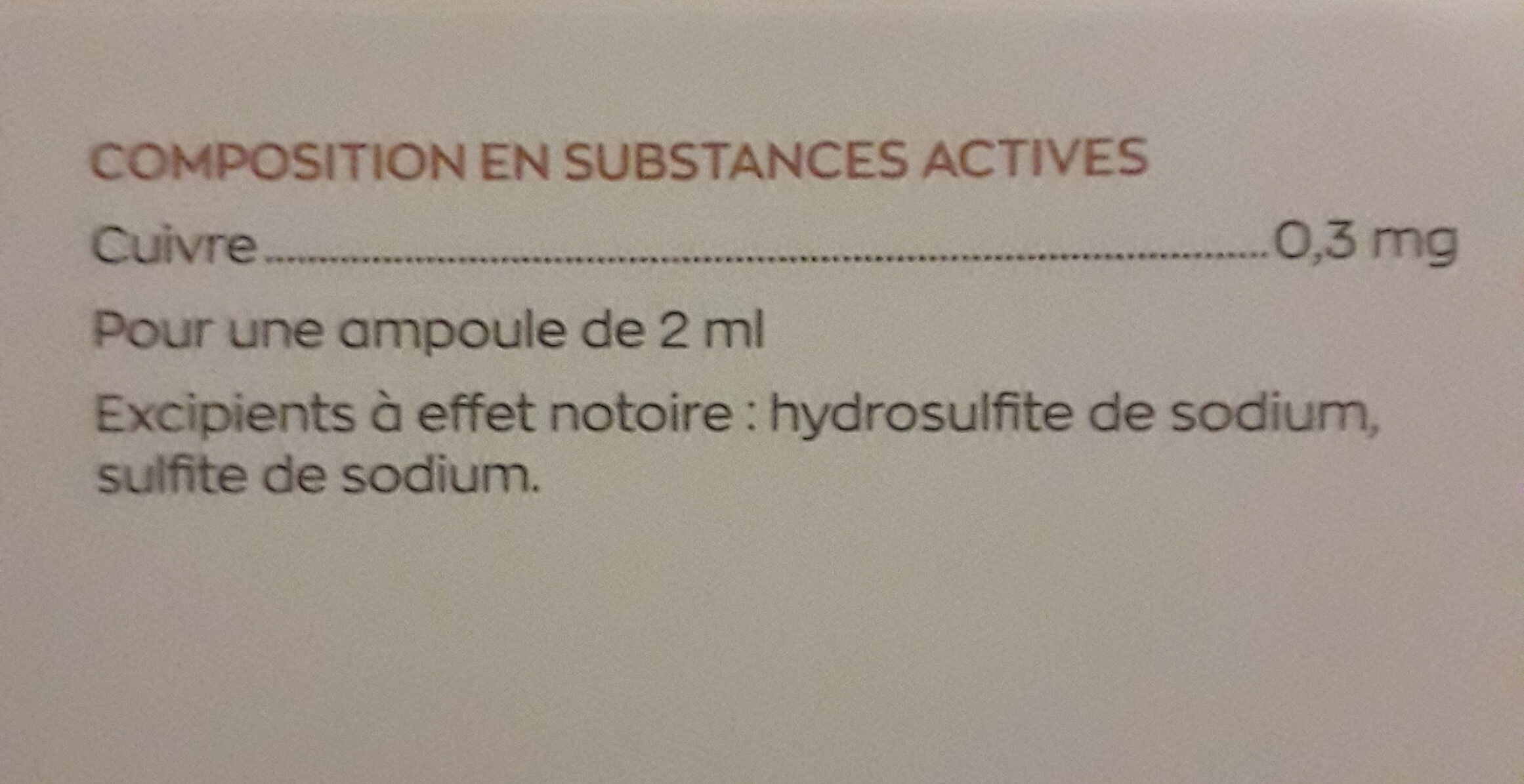 granions de cuivre - Ingredients - fr