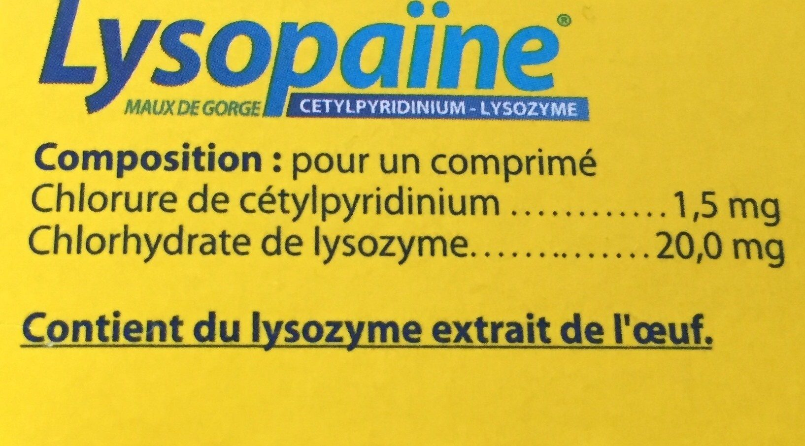 Lysopaïne - Ingredients - fr