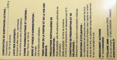 Sirop Toux Arôme Caramel - Ingredients