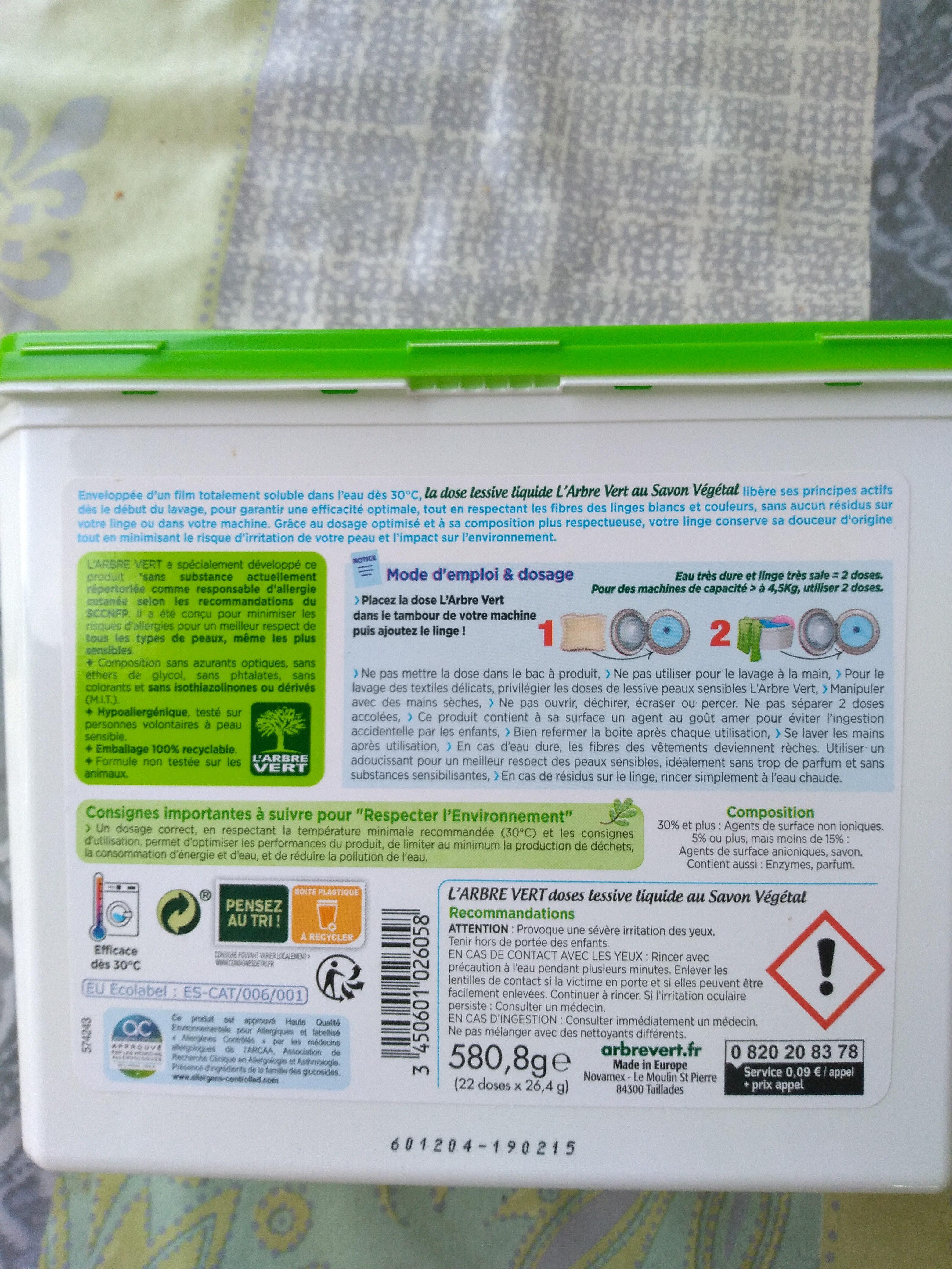 doses lessive liquide au savon végétale - Product - fr