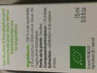 Huille essentielle eucalyptus 100% Biologique - Ingredients