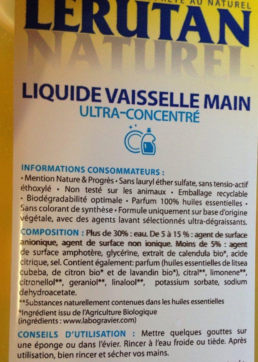 Entretien / Produits Vaisselle / Liquide Vaisselle - Ingrédients - fr