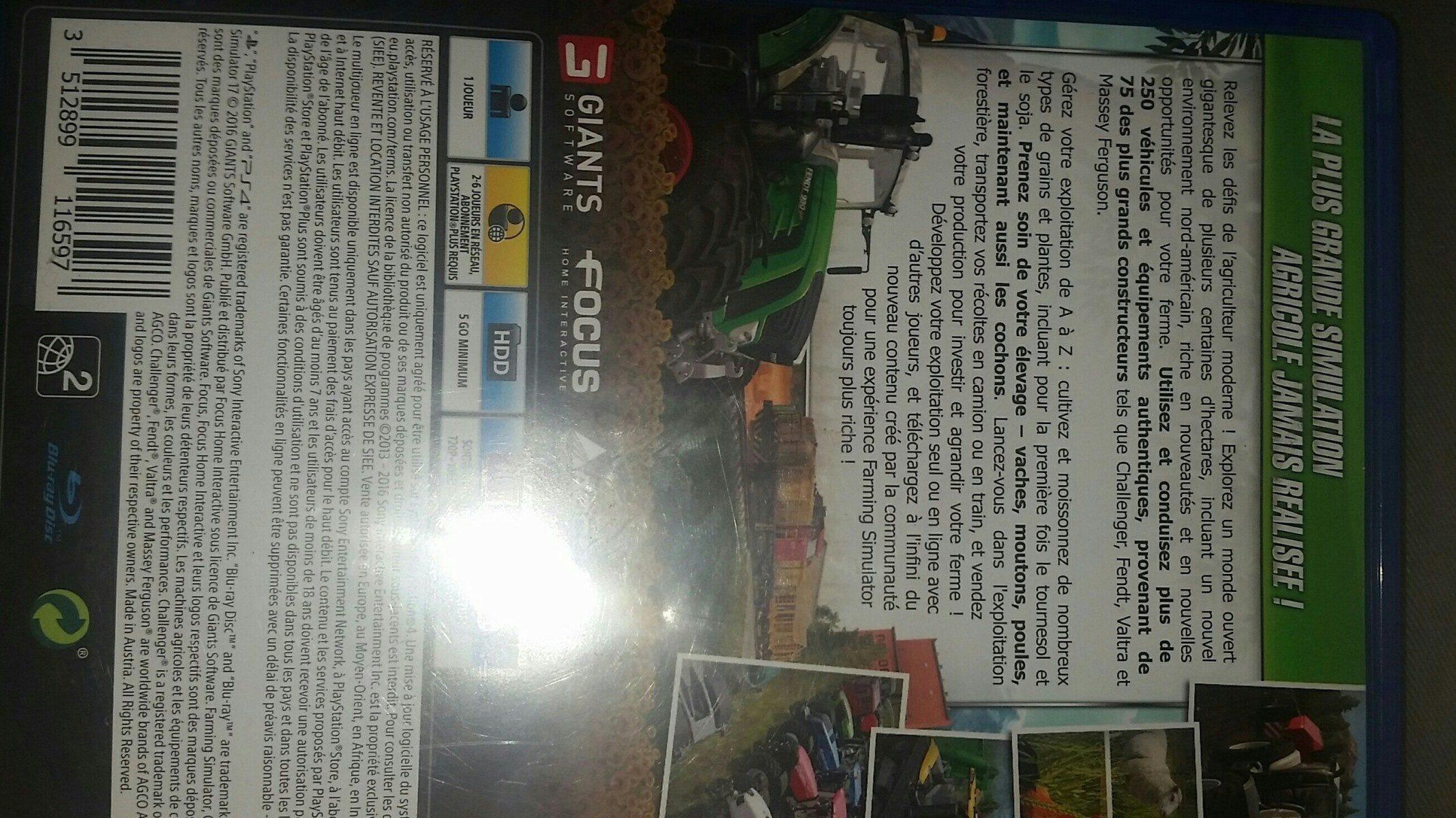 Farming Simulator 2017 Jeu PS4 - Ingrédients - fr