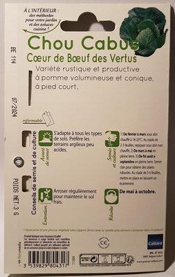 Chou Cabus Cœur de Bœuf des Vertus - Ingredients - en