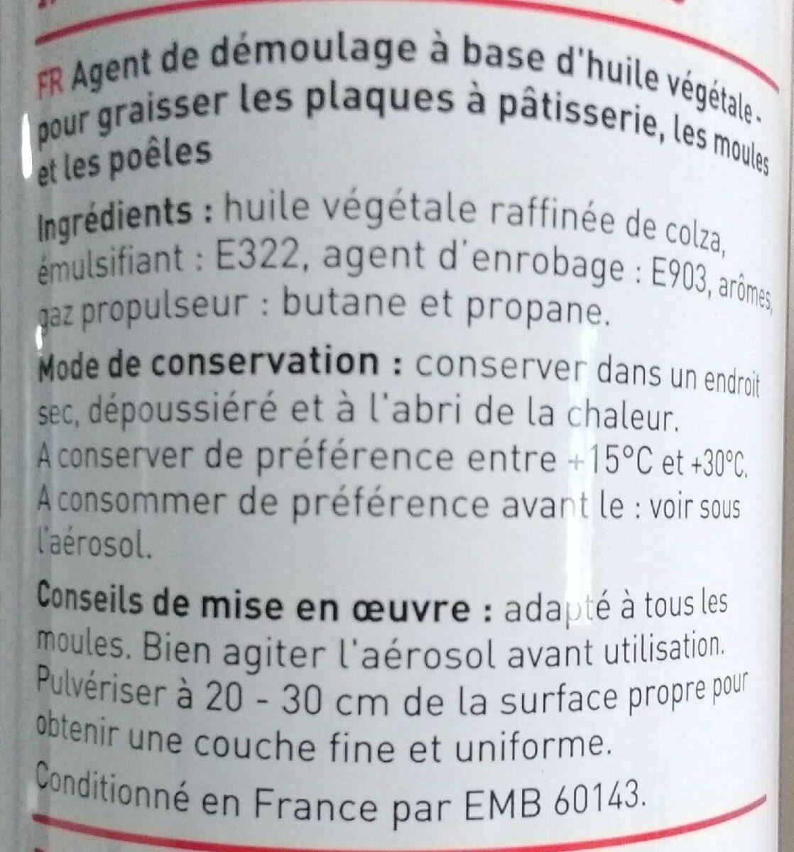 Graisse moules et plaques / trennspray - Ingredients - fr