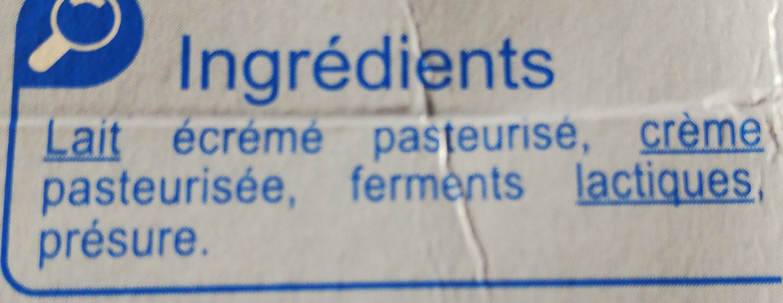 Fromage blanc nature - Ingredients - fr