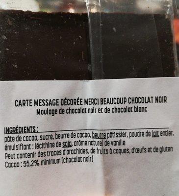 Carte décorée Merci beaucoup - Ingrédients - fr