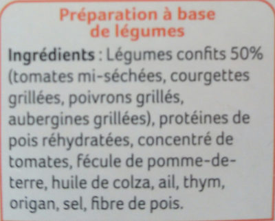 8 galettes aux legumes confits - Ingredients