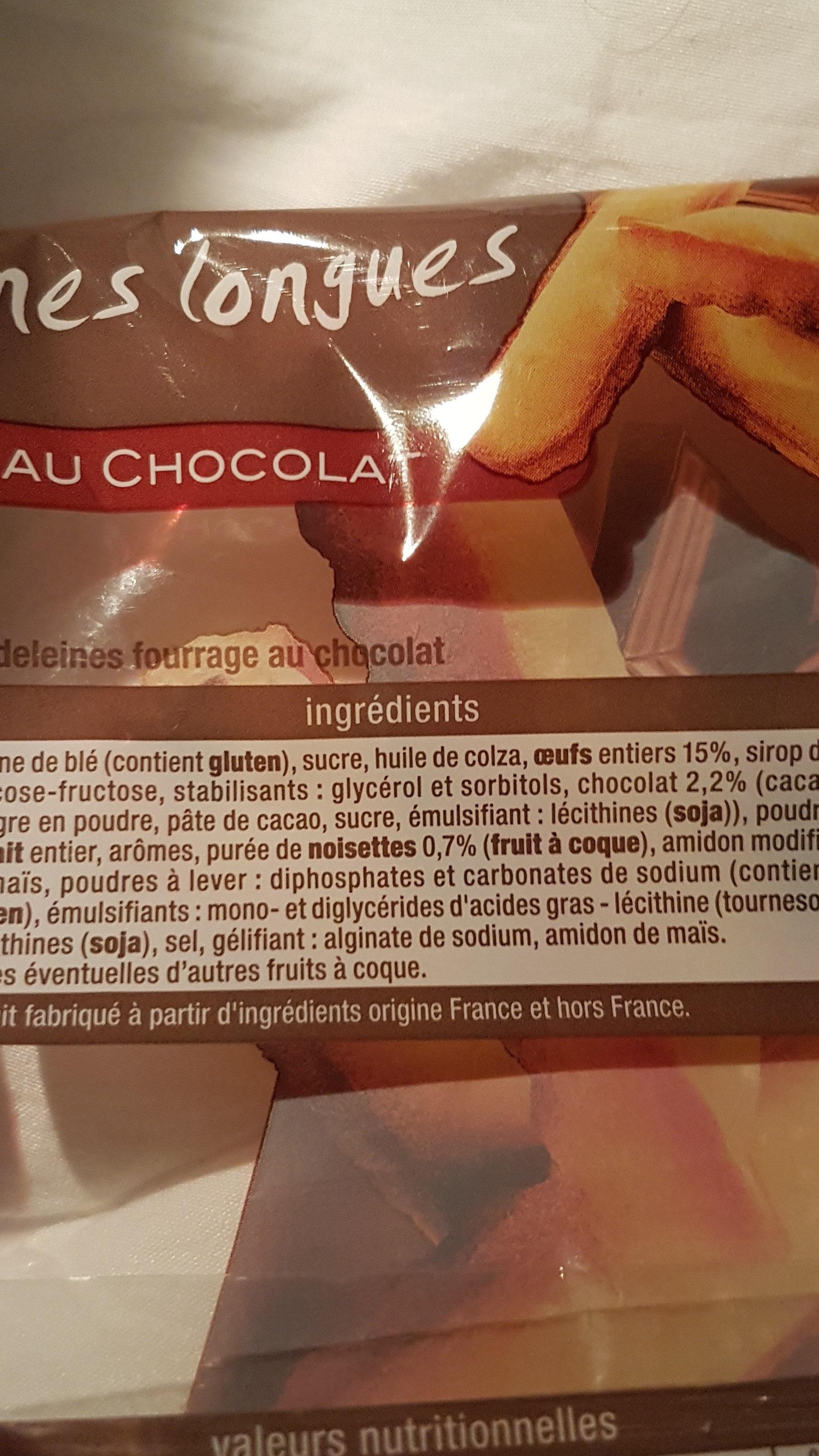 madeleines longues fourrées au chocolat - Ingredients - fr