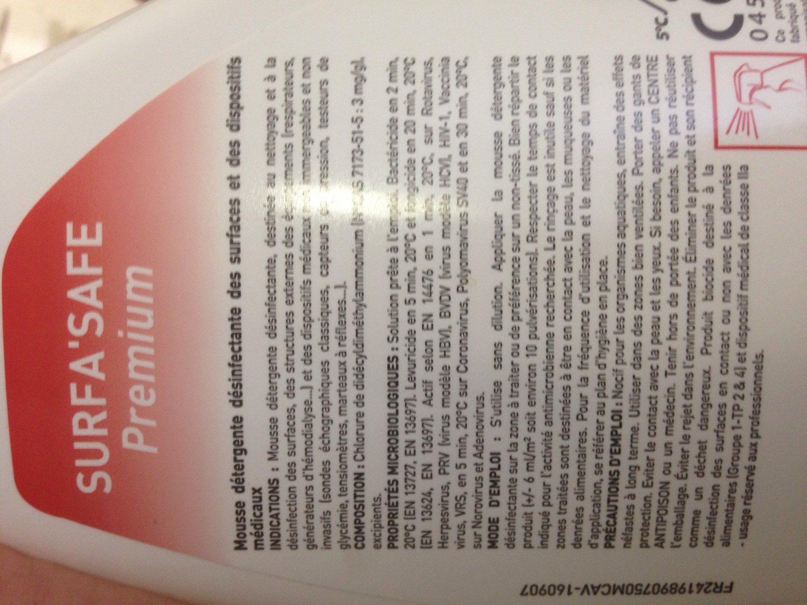 Anios Surfa'safe Premium Mousse Compacte 750 ML - Ingredients - fr